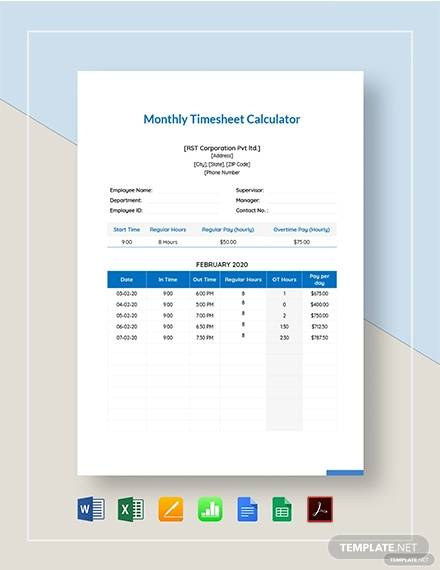 monthly timesheet calculator template