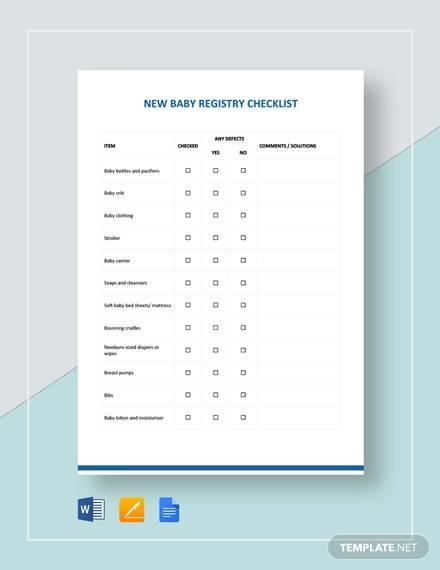 new baby registry checklist template