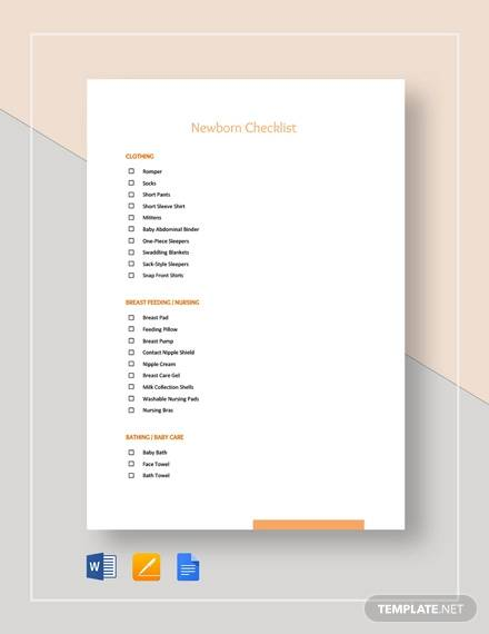 newborn checklist template