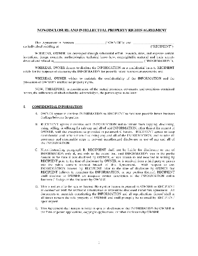 non disclosure and patent agreement