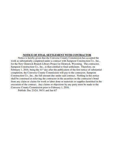 notice of final settlement with contractor