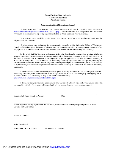 one page patent agreement sample