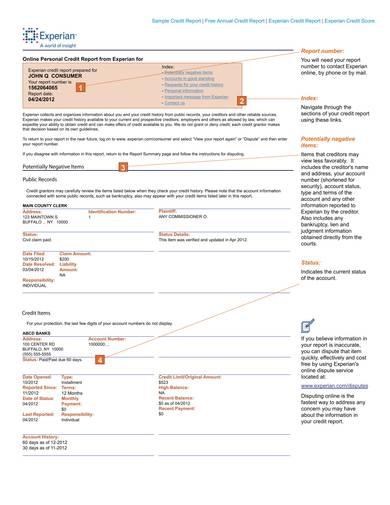 online personal credit report sample