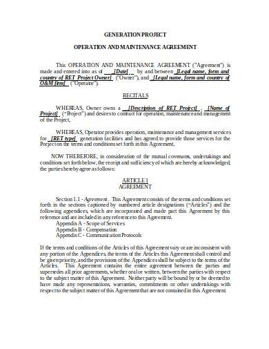 operations and maintenance agreement template
