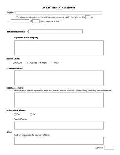 out of court settlement agreement template