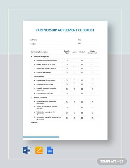 partnership agreement checklist template