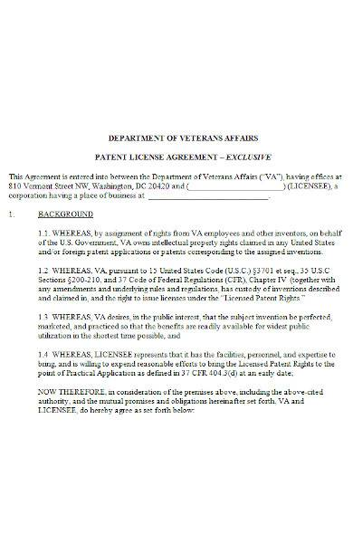 patent agreement sample in ms word