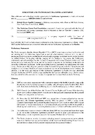 patent sublicense and technology transfer agreement