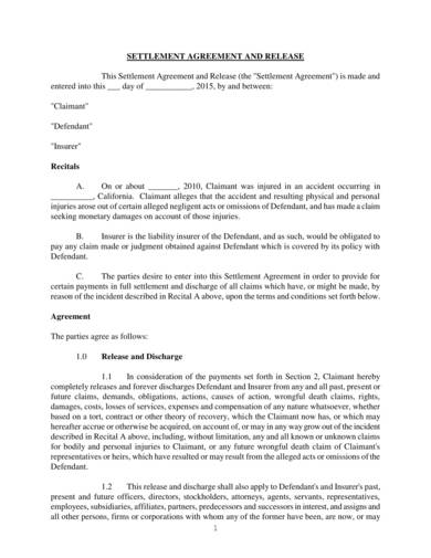 personal injury settlement agreement sample