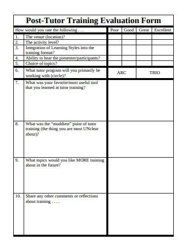 post tutor training evaluation form