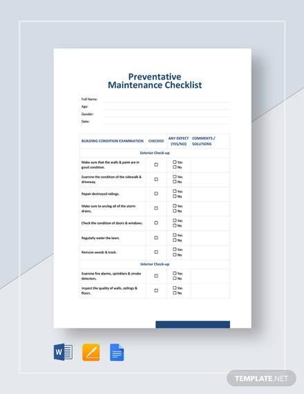 preventative maintenance checklist template