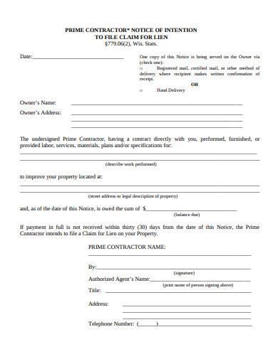 prime contractor notice