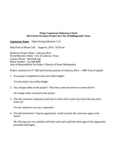 prime contractor reference check
