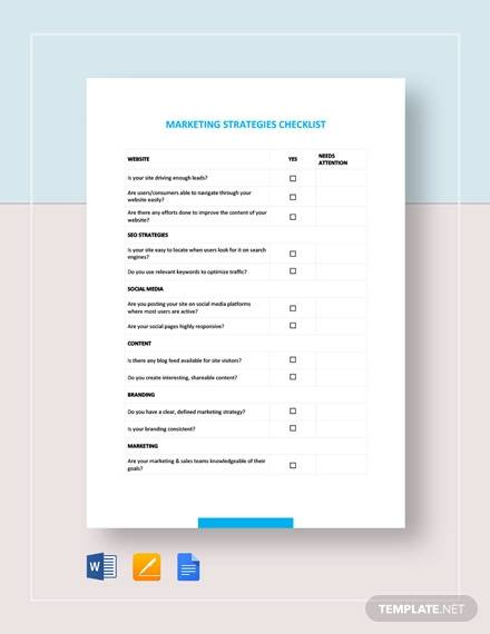 printable marketing strategies checklist template