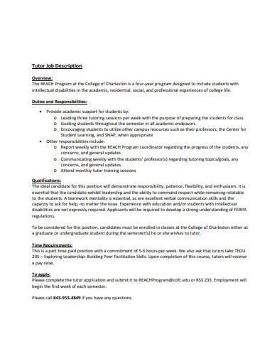 printable tutor job description sample