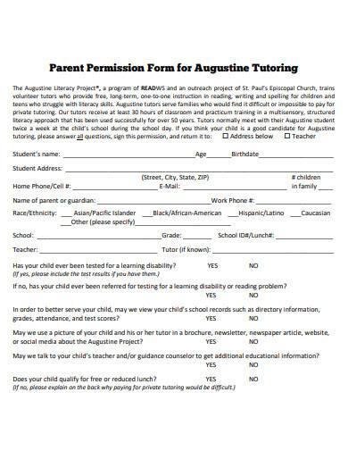 printable tutoring permission form