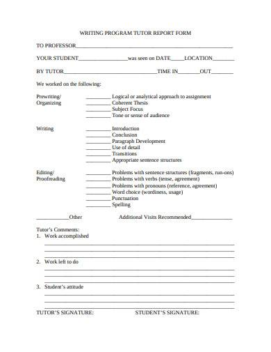 program tutor report form sample
