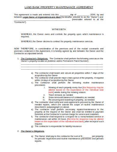 property maintenance agreement sample