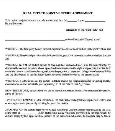 real estate joint venture partnership agreement template 1