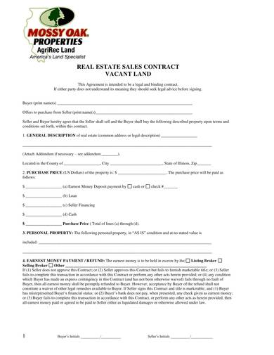 real estate vacant land agreement template