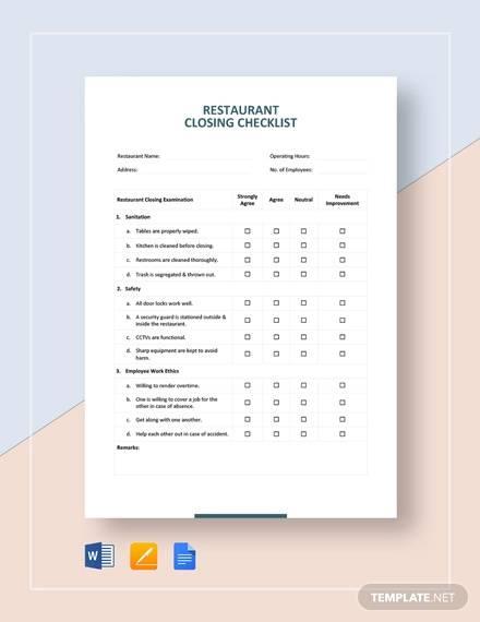 restaurant closing checklist template