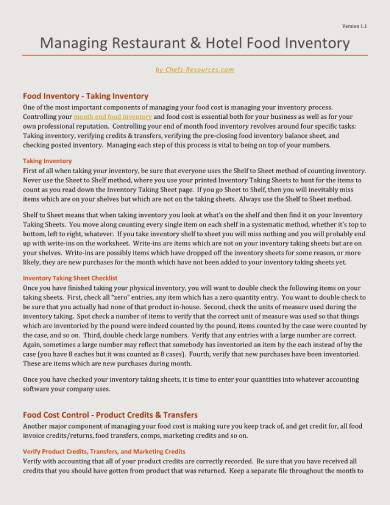 restaurant and hotel food inventory report