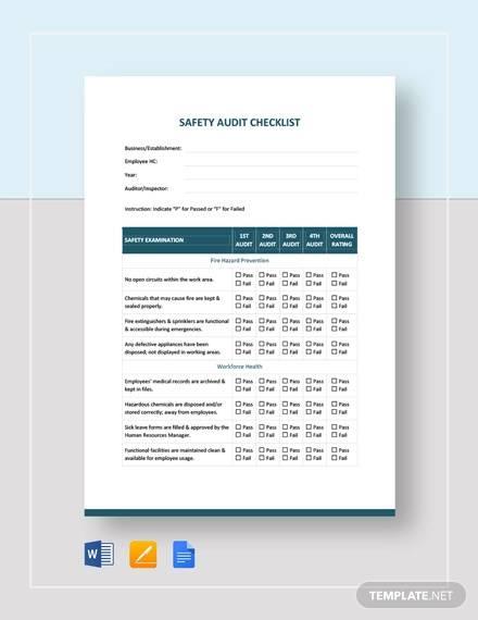 safety audit checklist template