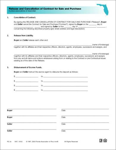 sale and purchase contract termination template 1