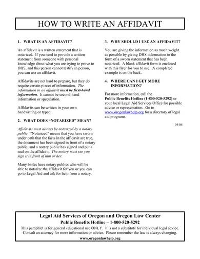 sample affidavit writing guide