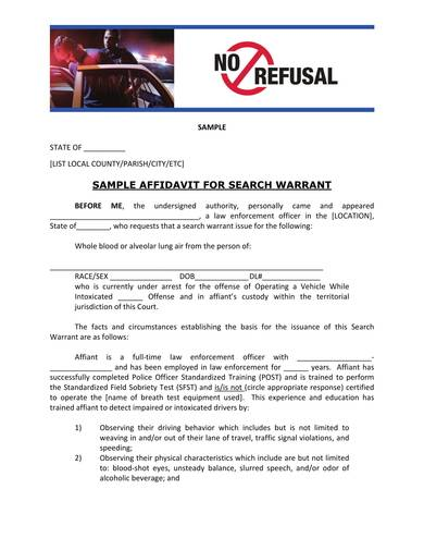 sample affidavit for search warrant
