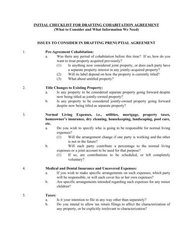 sample cohabitation agreement checklist