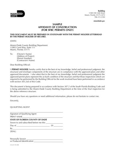 sample construction affidavit