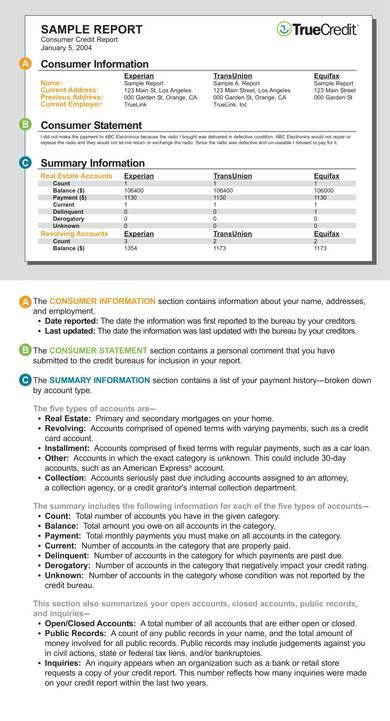 sample credit report reading guide