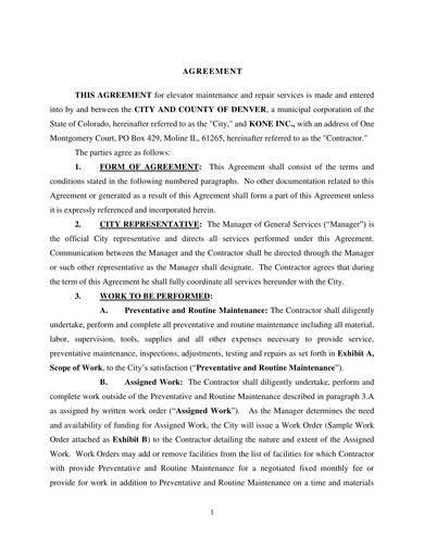 sample elevator maintenance and repair agreement