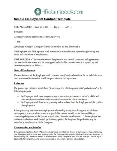 sample employment contract template