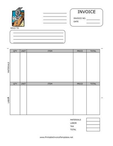 sample home repair invoice template