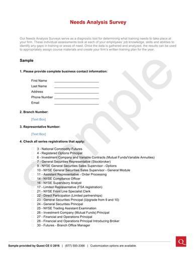 sample needs analysis survey