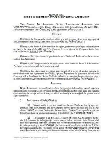 sample preferred stock subscription agreement