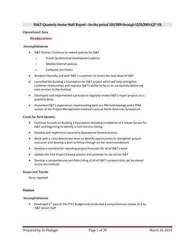 sample quarterly senior staff report