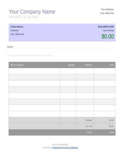 sample retail invoice template