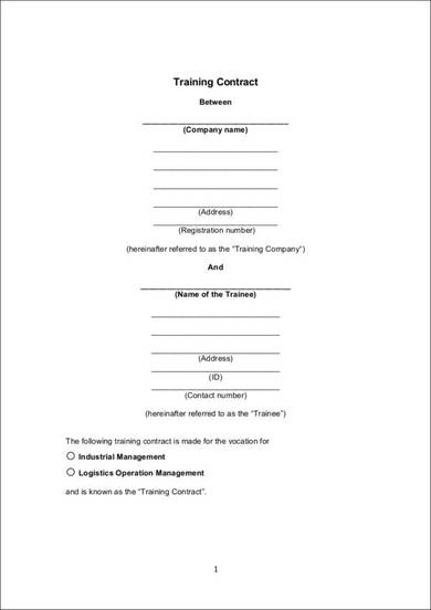 sample template for training contract