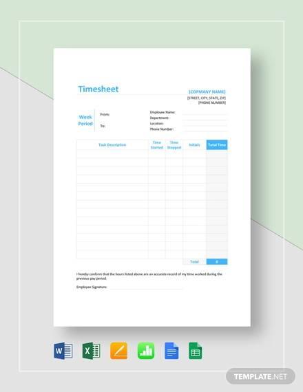 sample timesheet template