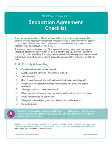 separation agreement checklist sample