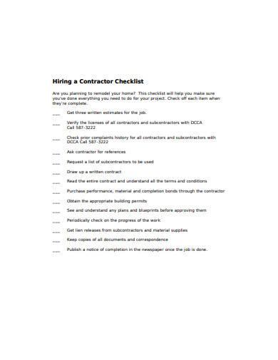 simple contractor checklist template