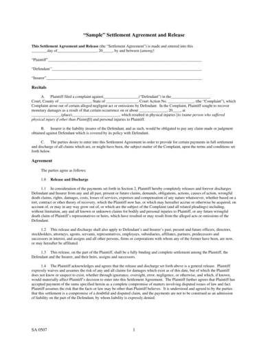 simple settlement agreement template