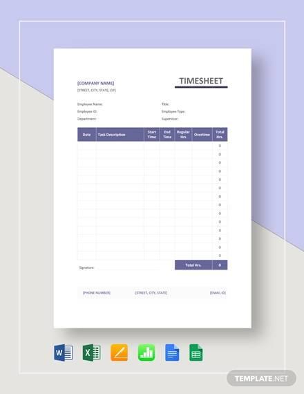 simple timesheet template
