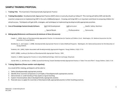 simple training proposal sample