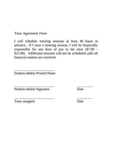 simple tutor agreement form
