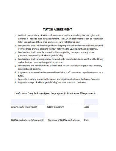simple tutor agreement