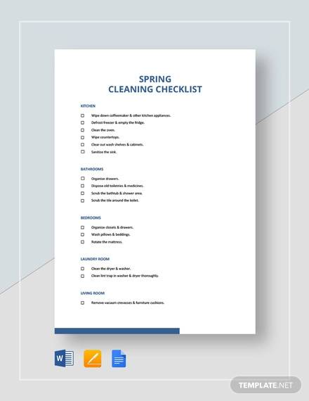 Sample Cleaning Checklist - 16+ Documents in Word, PDF